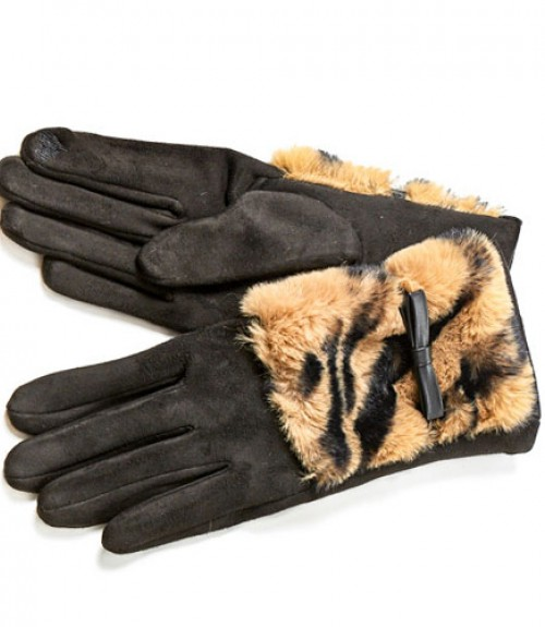 Γάντια Verde με Γούνα Animalprint