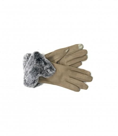 Γάντια Σουέτ με Γούνα Γκρί στο Τελείωμα