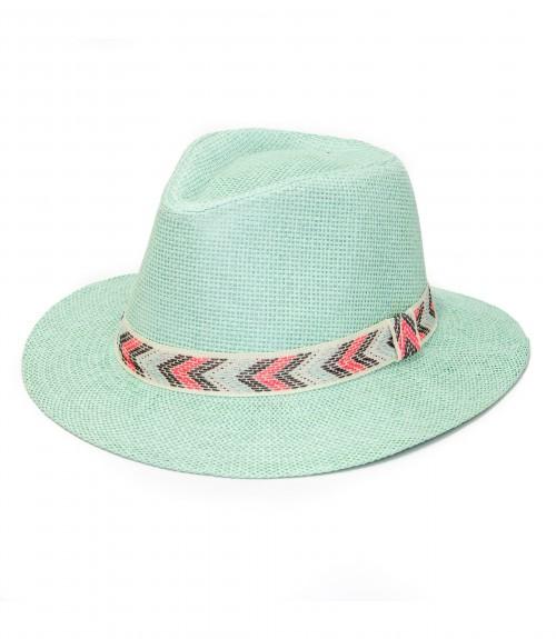 Καπέλο Τύπου Panama Ψάθινο με Χρωματιστή Κορδέλα