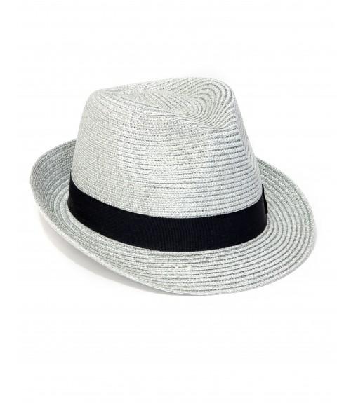 Καπέλο Καβουράκι Ψάθινο Ασημί Glossy