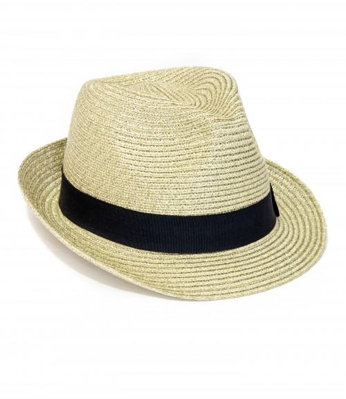 Καπέλο Καβουράκι Ψάθινο Χρυσό Glossy