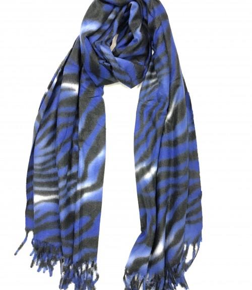 Κασκόλ ζέβρα μπλε