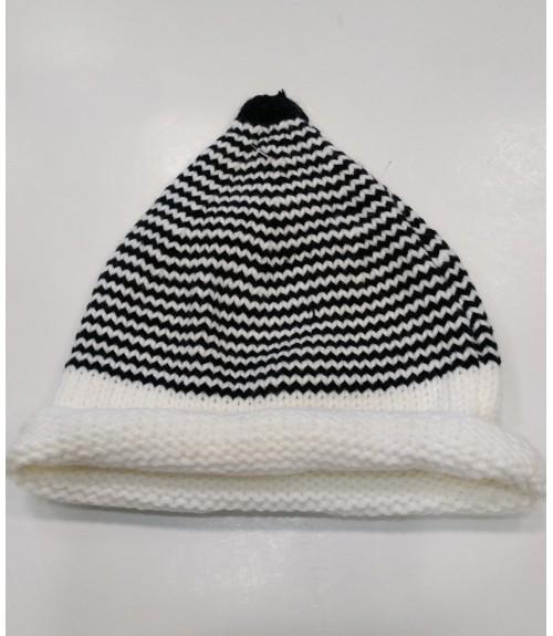 Σκουφί ριγέ λευκό με μαύρο