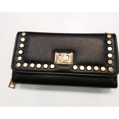 Πορτοφόλι VERDE μαύρο με χρυσά τρουκς