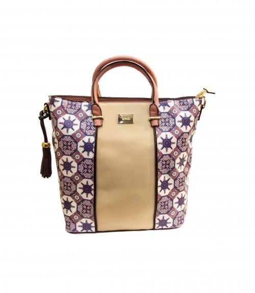 56cfecf226 Τσάντα Μεγάλη με Γεωμετρικά Print και Χιαστί Λουρί