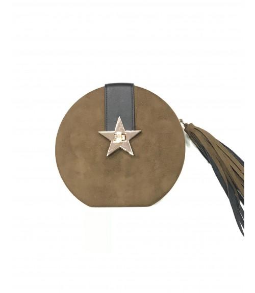 Clutch Round Σουέτ Verde Star