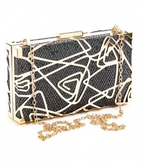 Clutch Verde Box Black Gold