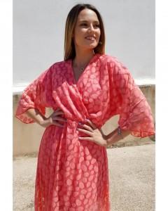 Φόρεμα Δαντέλα Κρουαζέ Τρουακάρ Μανίκι Βολάν στο Τελείωμα