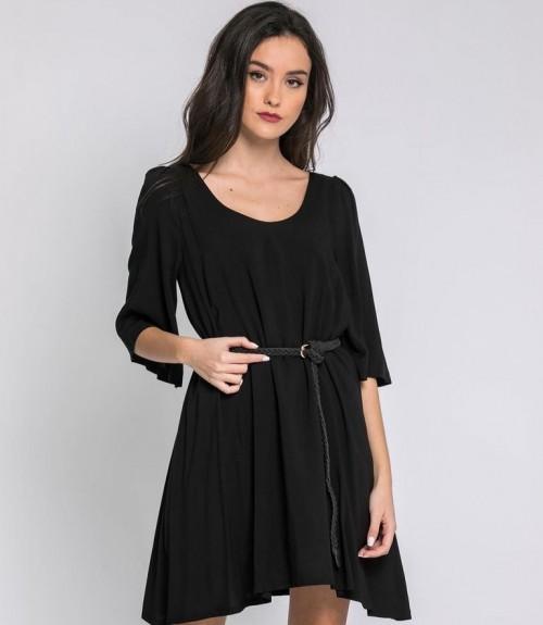 Φόρεμα Oversize με Ιδιαίτερη Πλάτη και Καμπάνα Μανίκι
