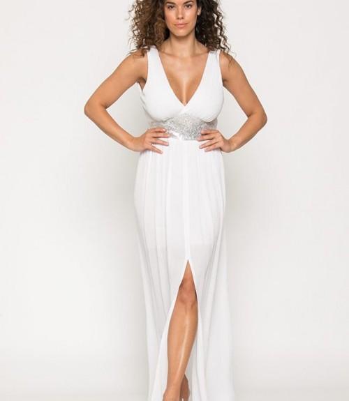 Φόρεμα Μακρύ με Μπάσκα Παγιέτα