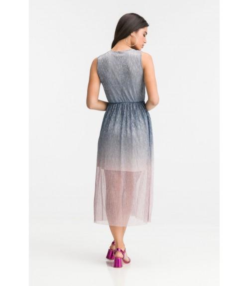 Φόρεμα Πλισέ Μεταλιζέ Midi Ελαστικό