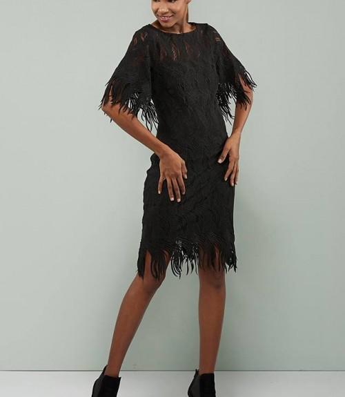 Φόρεμα Δαντέλα με Ανοιχτή Πλάτη και Κρόσια