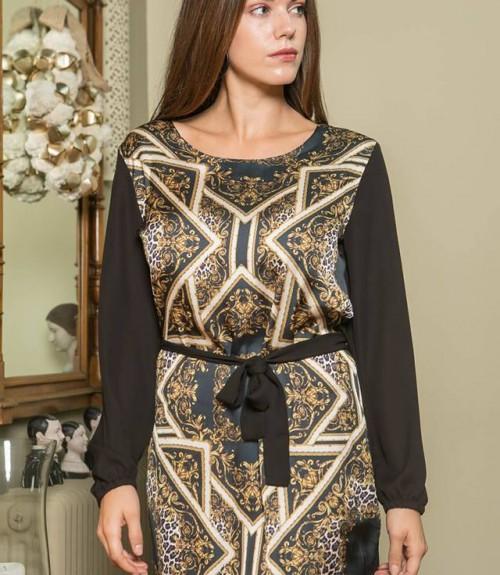 Φόρεμα Σατέν με Σχέδια και Φαρδύ Μανίκι