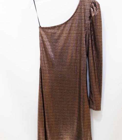 Φόρεμα Βραδινό με έναν Ώμο Μίντι Μεταλλιζέ