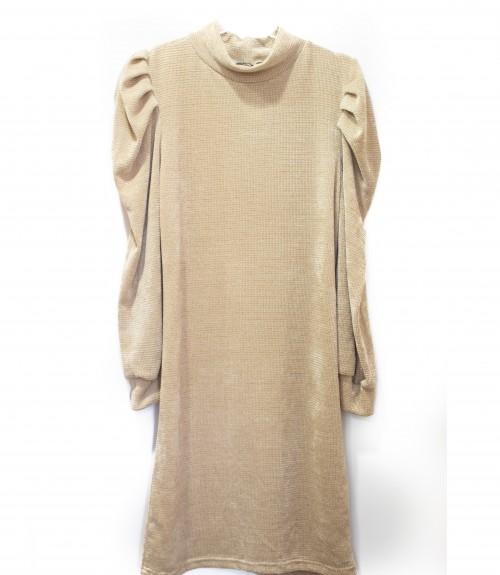 Φόρεμα Πλεχτό με Φουσκωτό Μανίκι σε Στενή Γραμμή