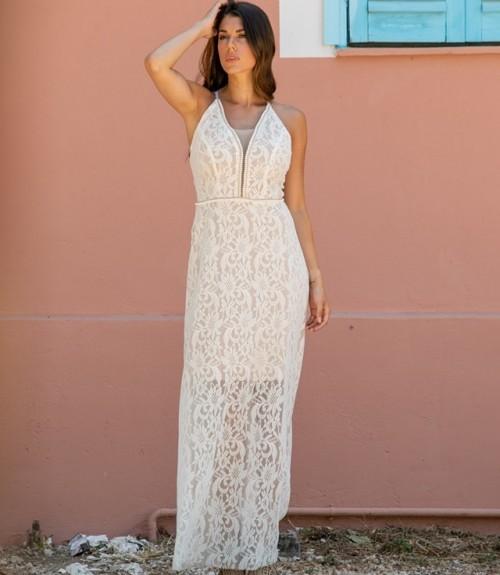 Φόρεμα Μάξι Δαντέλα με Ανοιχτή Πλάτη