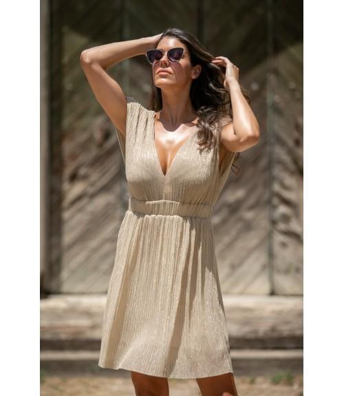 Φόρεμα Κοντό Lurex με Λάστιχο στήν Μέση Ampir