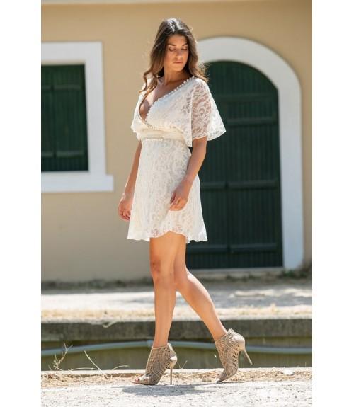 Φόρεμα Δαντέλα με Τρέσα και Ζώνη Αμπίρ