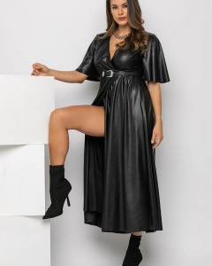 Φόρεμα Δερμάτινο Κρουαζέ Μακρύ