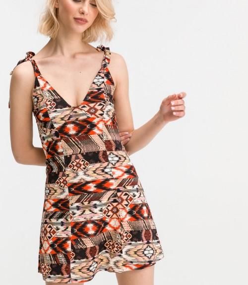Φόρεμα Κοντό Ελαστικό Εμπριμέ