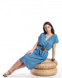 Φόρεμα Μίντι Τύπου Τζην με Ζωνη