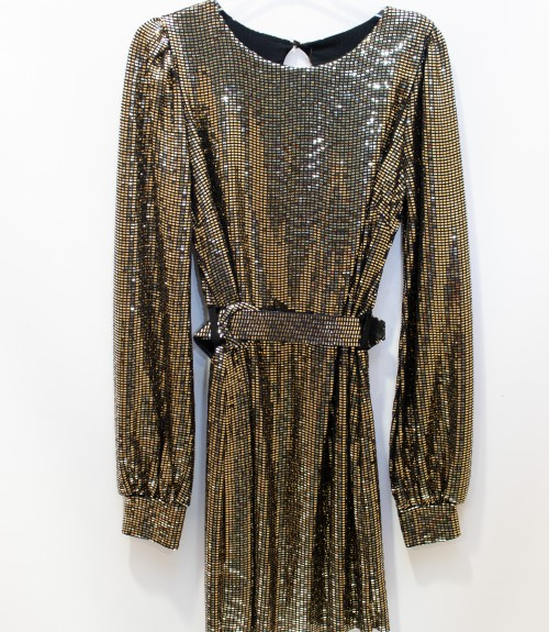 Φόρεμα Mirror με φουσκωτά Μανίκια και Ζώνη