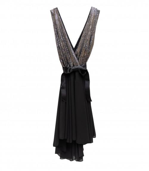 Φόρεμα Αμάνικο Κρουαζέ Mirror με Ζώνη