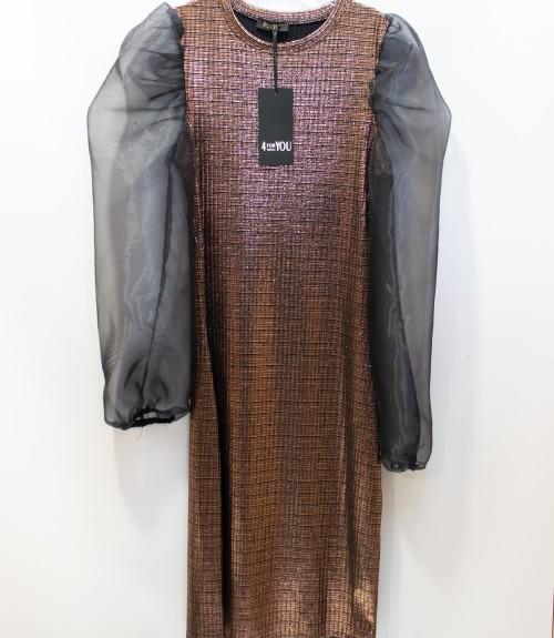 Φόρεμα Glossy με Φουσκωτά Μανίκια Οργάντζα
