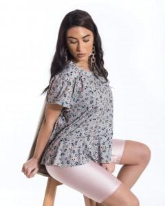 Μπλούζα με Λουλουδάκια και Βολάν