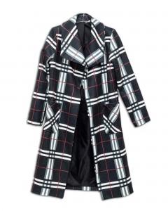 Παλτό Καρό με Πέτα και Εξωτερικές Τσέπες