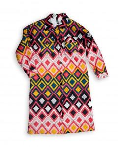 Παλτό σε Ίσια γραμμή με Γεωμετρικά Σχέδια Multicolor