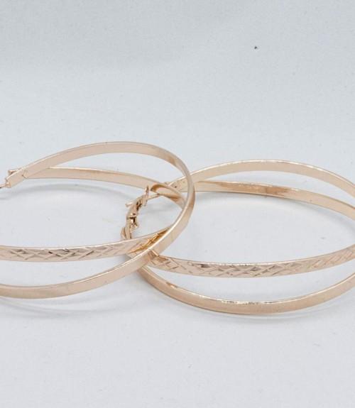 Σκουλαρίκια Κρίκοι Διπλοί Rose Gold
