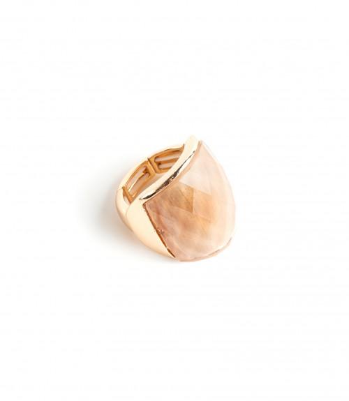 Δαχτυλίδι Ανοιγόμενο με Πέτρα Oval Beige