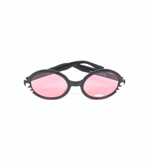 Γυαλιά με μαύρο στρογγυλό σκελετό με πέρλες και ροζ ανοικτό φακό