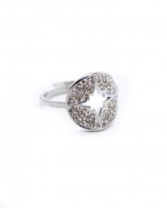 Δαχτυλίδι Ατσάλι με Στράς Star Silver