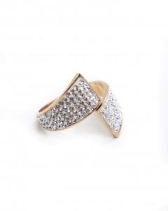 Δαχτυλίδι Ατσάλι Χρυσό με Στράς Λευκά ,
