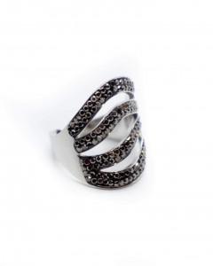 Δαχτυλίδι Ατσάλι Ασημί με Στράς Shiny Grey