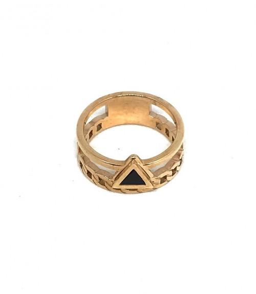 Δαχτυλίδι μεταλλικό διπλό μέγεθος 7 rose gold με πέτρα σε σήμα τρίγωνο μαύρη
