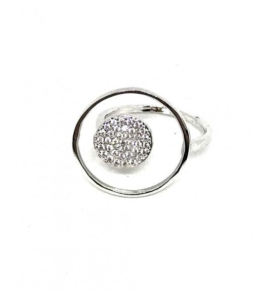 Δαχτυλίδι μεταλλικό με μαύρες μικρές πέτρες ασημί
