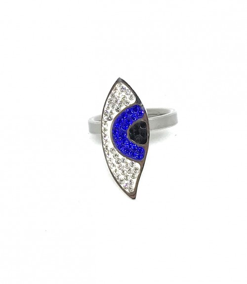 Δαχτυλίδι ατσάλι ασημί μάτι μπλε