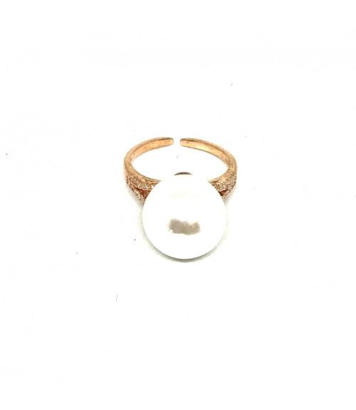 Δαχτυλίδι μεταλλικό πέρλα rose gold