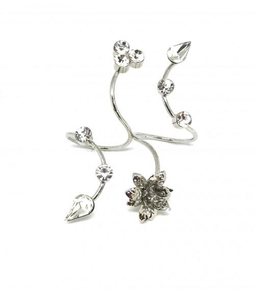 Δαχτυλίδι Διπλό Ασημί με Λουλούδια και Στράς