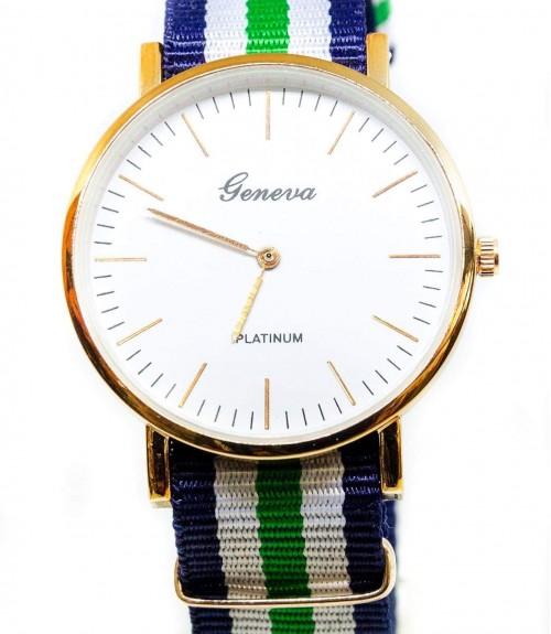 Ρολόι Geneva με Ριγέ Λουράκι Υφασμάτινο