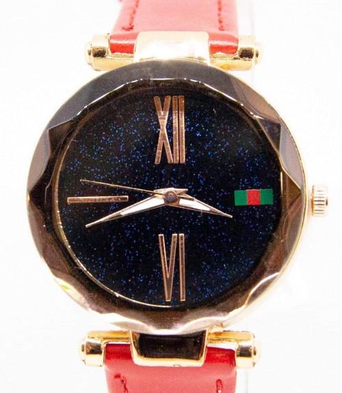 Ρολόι με Κόκκινο Λουράκι και Μαύρο Καντράν