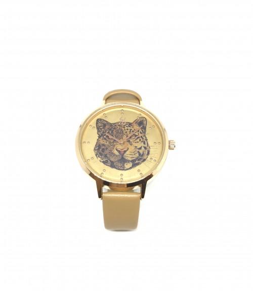 Ρολόι μεταλλικό τίγρης με δερμάτινο μπεζ λουράκι χρυσό