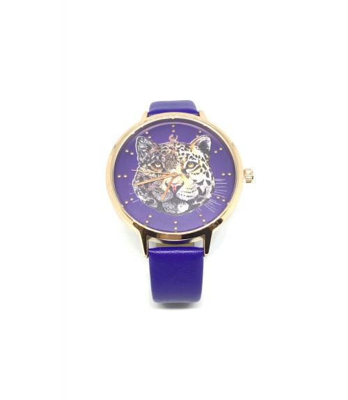 Ρολόι μεταλλικό τίγρης με δερμάτινο μπλε λουράκι χρυσό