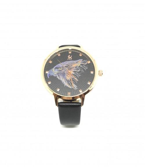 Ρολόι quartz μεταλλικό αετός με δερμάτινο μαύρο λουράκι χρυσό
