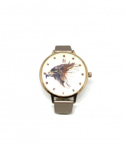Ρολόι quartz μεταλλικό αετός με δερμάτινο λουράκι rose gold